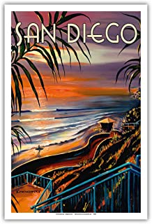 Pacifica Island Art - San Diego - California Sunset - Vintage Travel Poster by Wade Koniakowsky - Master Art Print - 12in x 18in