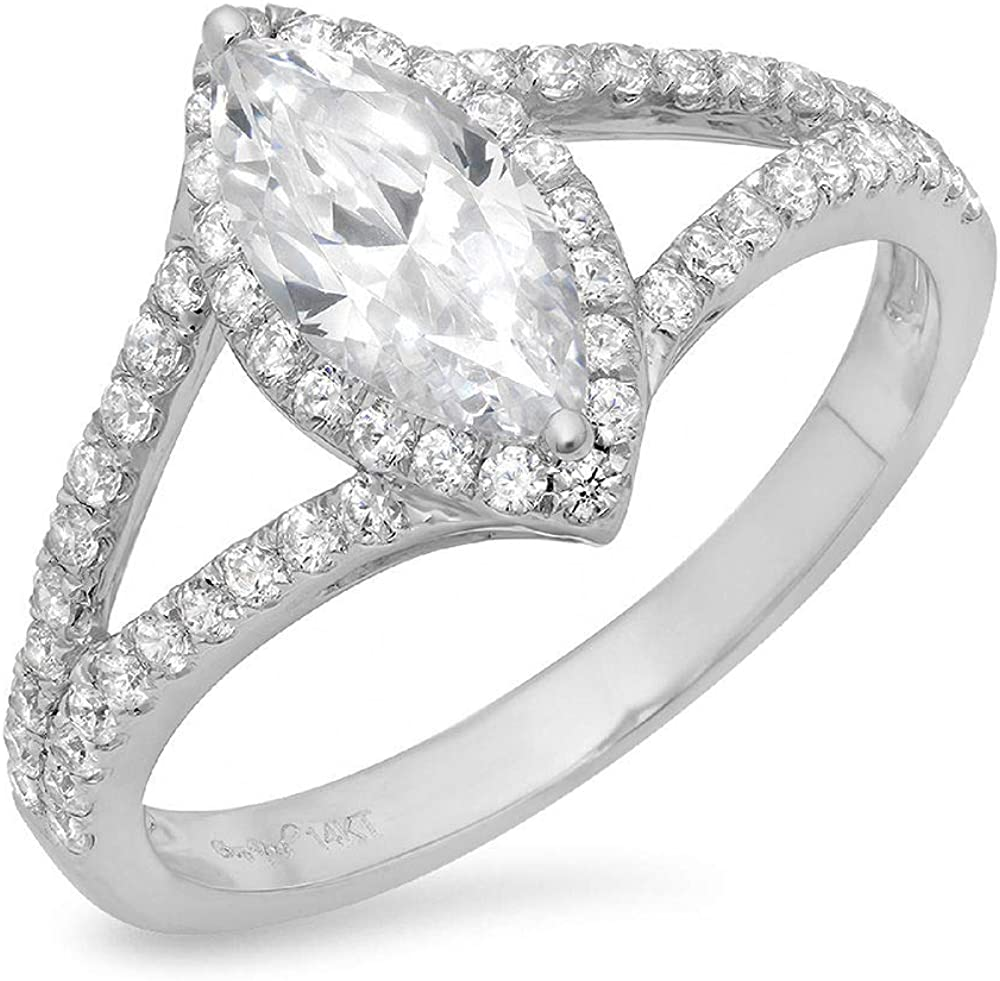 1.14ct Marquise お洒落 大人気! Cut Solitaire with split Stunn Halo shank Accent