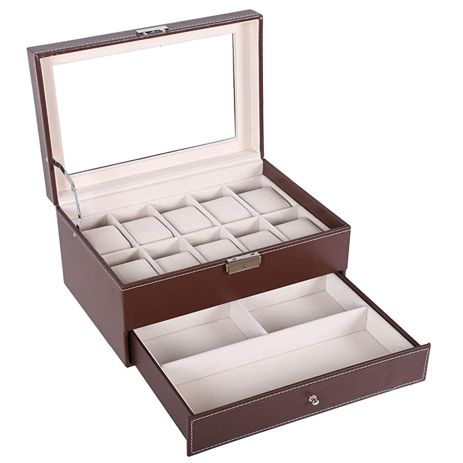 BASTUO Watch Box 10 Men's Watch Display Case Organizer with PU Leather Jewelry Display Case with Key&Lock, Brown with Glass Top