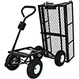 Sunnydaze Utility Steel Dump Garden Cart, Outdoor Lawn Wagon with Removable Sides, Heavy-Duty 660 Pound Capacity, Black
