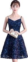 HEYG-Dress Vestir Moda Casual Prom Vestido de Noche Formal para Las Mujeres Sexy Perlas de Liga Vestido de Fiesta de una línea (Color : Color, Size : XXXL)