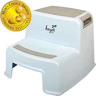 Dual Height 2 Step Stool (Mom's Choice Award Winner) for Toddlers and Kids | Slip Resistant Rubber Pads | Easy & Safe Toilet Potty Training & Teeth Brushing | Boy & Girl | Bathroom & Kitchen | Wide