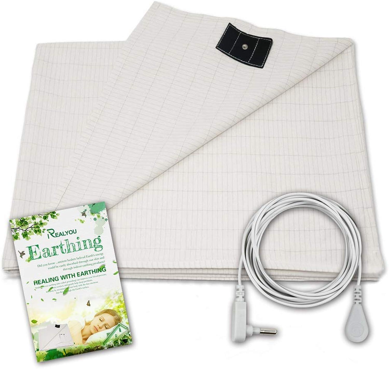 Earthing Half Sheet, Earthing Grounding Sheet Earthing Pillow Case for Grounding, EMF Radiation Predection,Conductive Grounding Mat for Better Sleep (Earthing Sheet 35X90 inch)