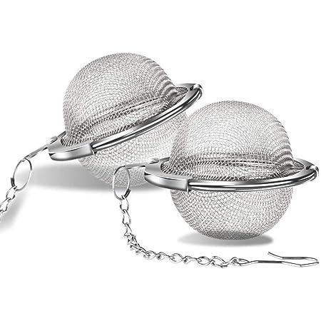NC Passoire à thé 2 pièces Infuseur à thé de 5,5 cm avec chaîne Filtres à thé en Acier Inoxydable 304 pour thé en Vrac et épices à Chaud