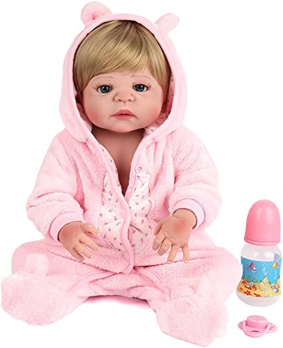 QXMEI Simulation Reborn Babypuppe 22 Zoll   55 cm Kinder Spielzeug Alle Silikon Wasser Geschenk