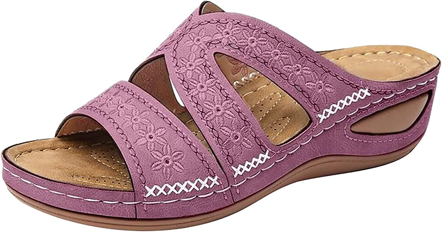 Pillow Slides Slippers, Orthotic Sandals Women's Flip Flops Thongs , Women's Multi-Color Embroidered Sandals with Wedge Fish Mouth Platform Shoes