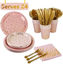 Pink Gold Party Supplies Disposable Tableware - Paper Dinnerware, Paper Plates, Cutlery, Napkins, Cups, Cutlery (Spoons, Forks, Knives) for Wedding, Girl Birthday Party, Baby Shower, Serves 24