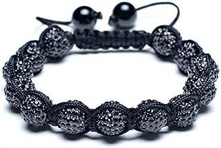 Black Blue White Or Gold Tone Pave Crystal Disco Ball Shamballa Inspired Bracelet for Women Men Adjustable Cord String