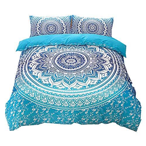 KHDJ Bohemian Egyptian Mandala mandala Double Duvet Set 3 Pcs Hippie Gypsy Nirvana Yoga Indian Home Bedding Duvet Cover Set (Double, Blue),150 * 210 cm