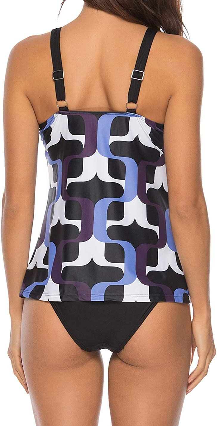 CKMKSA Womens two-piece tankini set slimming padded bandeau tankini top with shorts swimsuit for chubby sporty swimwear