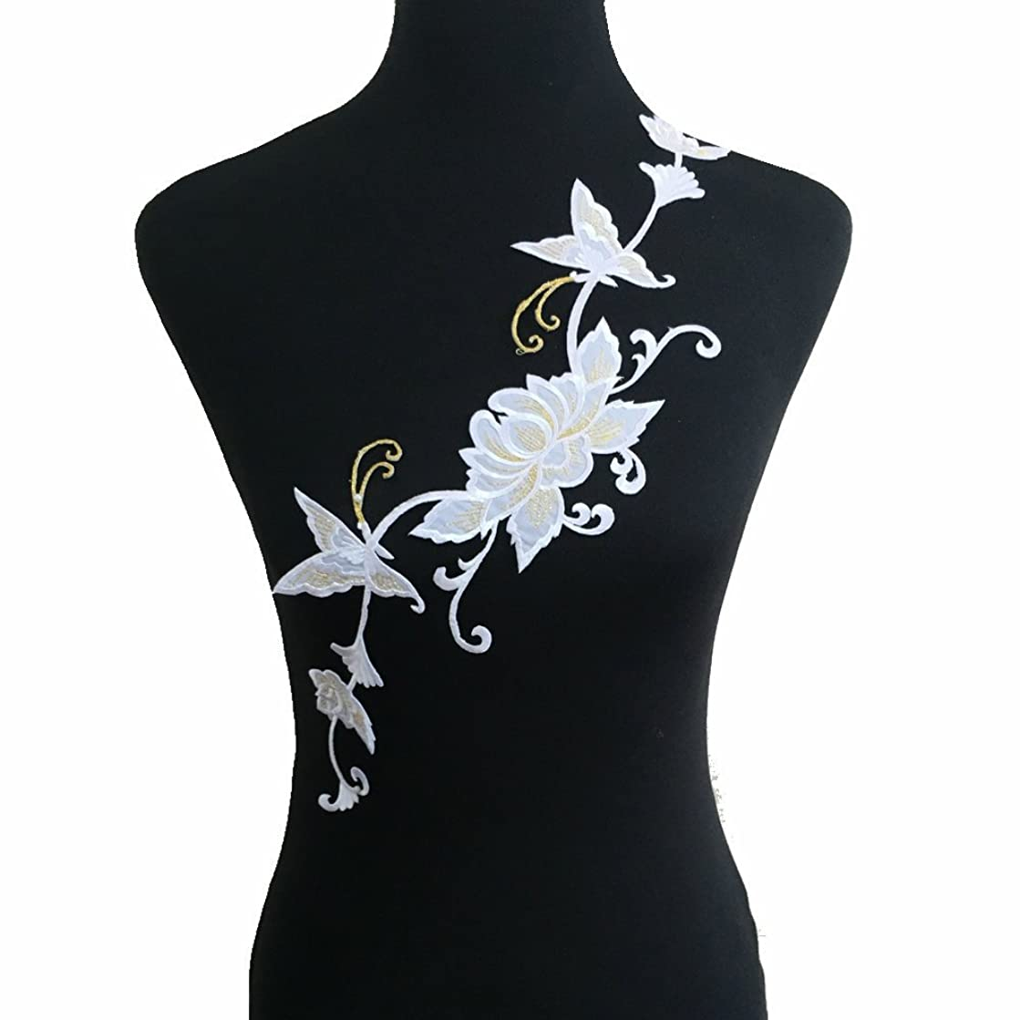 Big Flower Iron on Embroidered Appliques Patch Embroidered Lace Fabric Ribbon Trim Neckline Collar (Style A)