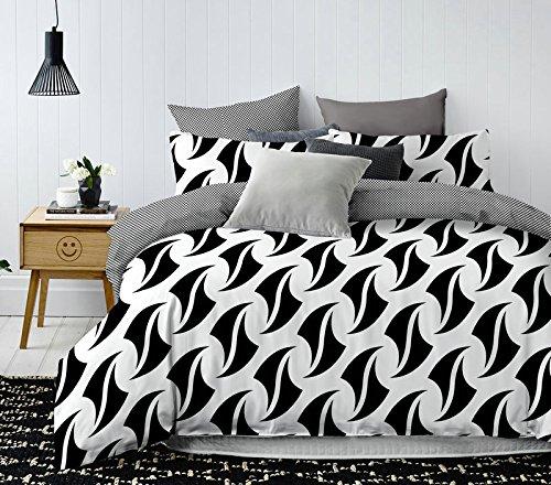 DecoKing Parure de Lit 200x200 cm 2 Taies d'oreiller 80x80 cm Housse de Couette Micro-Fibre Géométrie Géométrique Blanc Noir Blade Hypnosis Collection