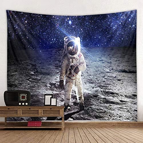 JXWR Espacio Astronauta Tapiz Rectángulo Arte Pared Impresión Digital Tapiz Poliéster Alfombra de Viaje Estera Manta de Playa Estera de Yoga 150x130cm