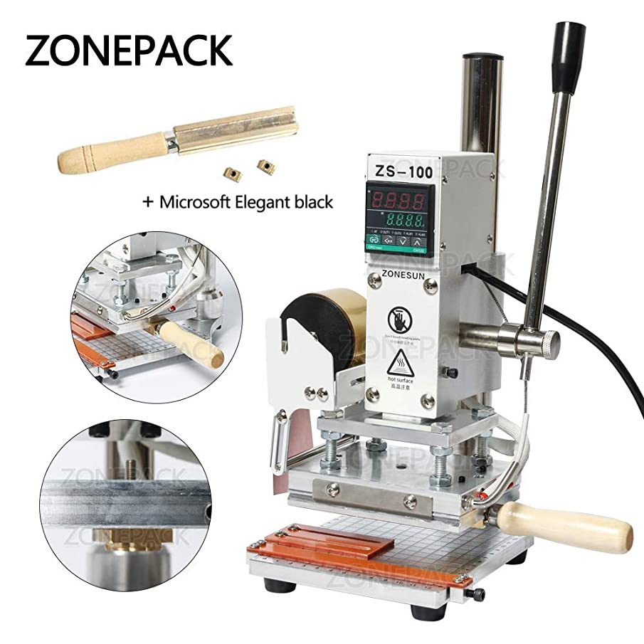 ZONEPACK Digital Embossing Machine with Stamping Letter Hot Foil Stamping Machine Manual Tipper Stamper for PVC Leather Pu and Paper Stamping with Paper Holder (Machine with Microsoft Elegant Black) …