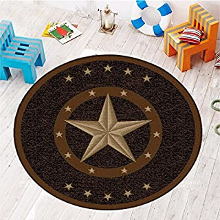 Furnish my Place Texas Western Star Rustic Cowboy Decor Area Rug, Round, Brown/Black