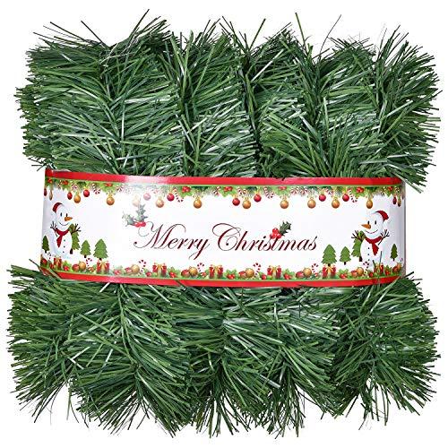 YQing 5 Meter Künstliche Tannengirlande Weihnachtsgirlande mit LED Lichterkette, Kunststoff Grün Weihnachten Kiefer Tanne Girlande Weihnachtsdeko Türkranz Weihnachten Garland für Kamine, Treppe