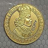 Chaenyu Monedas de Polonia 1649-1668 chapadas en Gpld de 24 k Copia decoración de Moneda Conmemorativa de Regalo de 32 mm