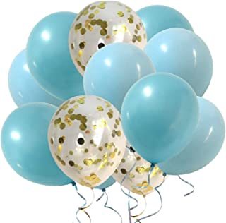 Blue Balloons Gold Confetti Balloons for Baby Boy Shower Decorations Kids Birthday Party Decoration Kit (Paste Blue Gold C...