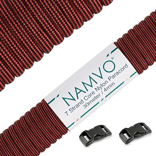 Namvo 550 Paracord Mil Spec Tipo III Cable de paracaídas de 7 Cuerdas Longitud 100 pies / 30 Metros - Mezcla de Color Rojo y Negro