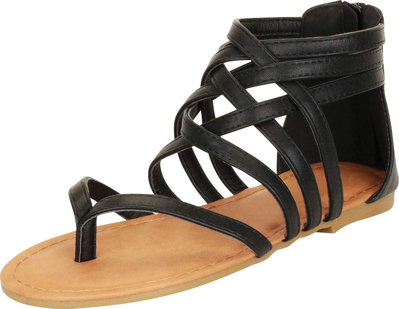 Cambridge Select Women's Thong Toe Crisscross Strappy Lattice Gladiator Flat Sandal