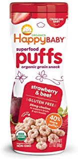 Happy Baby Organic Superpuff Strawberry and Beet Puffs, 60g