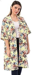 معطف كيمونو طول الركبة مشجر من القطن للنساء من جميلة
