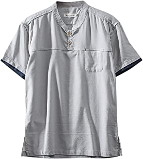 Fashion Men's Cotton Linen Solid Color Short Sleeve Retro T Shirts Tops Blouse 2019 Summer New T-shirt Momoxi