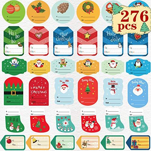 Joy Bang Gift Tags Sticker Christmas Labels Self Adhesive Christmas Gift Label Stickers Christmas Name Stickers to and from Labels Stickers for Gift Holiday Xmas Gift Greeting Tags Stickers