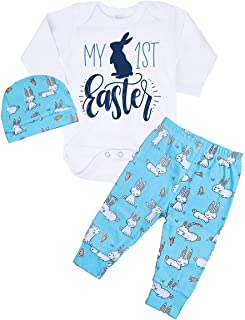76bda7fe5 My 1st Easter Newborn Baby Boy Girl Clothes Long Sleeve Romper Top + Bunny  Pants +