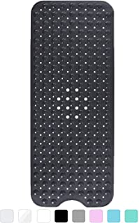 Yimobra Original Bath Tub Shower Mat Extra Long 16 x 40 Inches, Non-Slip with Drain Holes, Suction Cups, Phthalate, BPA and Latex Free and Machine Washable, Bathroom Mats Black