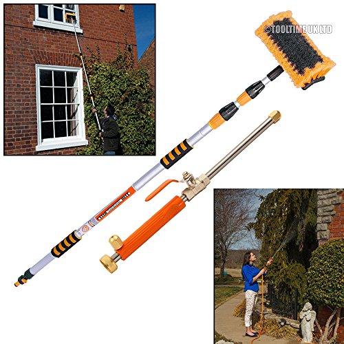 Tooltime UK Brosse de lavage télescopique 3 m + lance de lavage haute pression - Orange