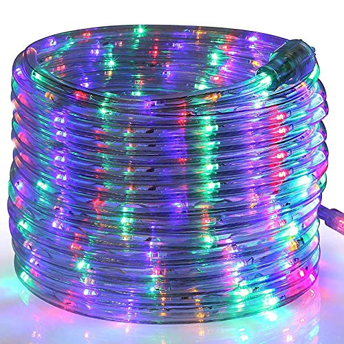 Toodour Christmas LED Rope Lights, 32.8ft 240 LED Tube Lights, Connectable Indoor Outdoor Clear Rope Christmas Lights for Garden, Patio, Bedroom, Party, Wedding, Christmas Decorations (Multicolor)