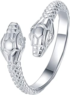 Adjustable Silver Double Snake Head Ring