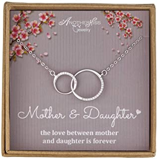 Mother Daughter Necklace - Sterling Silver 2 Circle Infinity Necklace, Mothers Day Jewelry Birthday Gift
