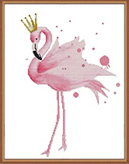 YEESAM ART New Cross Stitch Kits Advanced Patterns for Beginners Kids Adults - Pink Flamingo Queen - DIY Needlework Wedding Christmas Gifts (Flamingo Queen, Stamped)