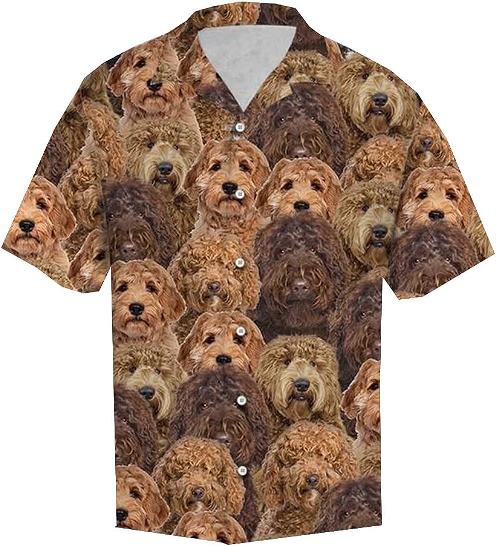 Tropical Dog Hawaiian Shirts for Men - Summer Dog Button Down Mens Hawaiian Shirts Short Sleeve Series 176