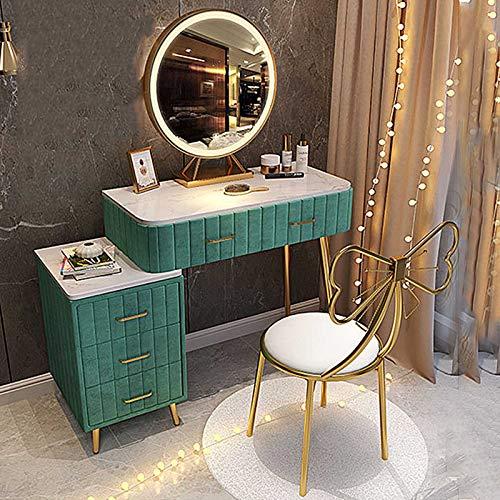 Schminktisch Set für Schlafzimmer LED-Leuchten Spiegel Make-up Tisch mit Schmetterlingsstuhl Kinder Schminktisch mit Nachttisch 80cm Kommode
