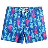 MaaMgic pantalocini da Bagno per bambimi Ragazzini Asciugatura Rapida Costume da Mare Spiaggia Piscina Slip Interno, Spina di Pesce Blu, 7 Anni