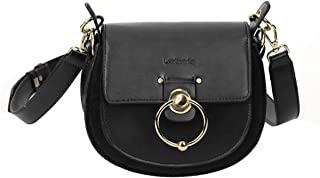 Leather Crossbody Bags for Women Saddle Bag Purse Handbags Cover Hasp Satchel Shoulder Buckle Bags Handmade Gift for Young Women & Teen GirlsSmall Size Black