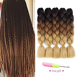 Ombre Braiding Hair Kanekalon Synthetic Hair Extensions for Box Braids and Twist Braids Hair Honey Blond Afro Jumbo Braiding (5Pcs/Lot 100g/pc 24inch)