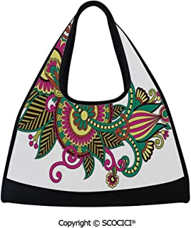 Tennis racket bag,Traditional Ukrainian Design Hand Drawn Floral Pattern Multicolored European Design,Bag for Women and Men(18.5x6.7x20 in) Multicolor