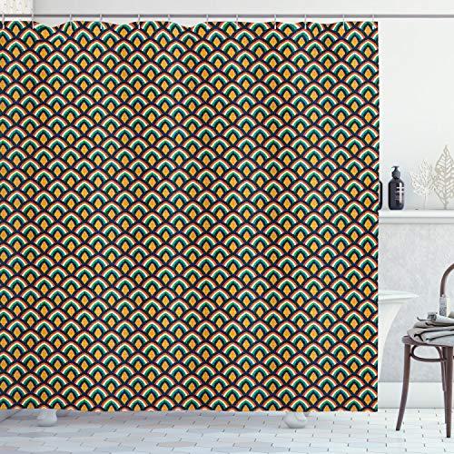ABAKUHAUS Weegschaal Douchegordijn, Kleurrijke Classic Stripes, stoffen badkamerdecoratieset met haakjes, 175 x 180 cm, Veelkleurig