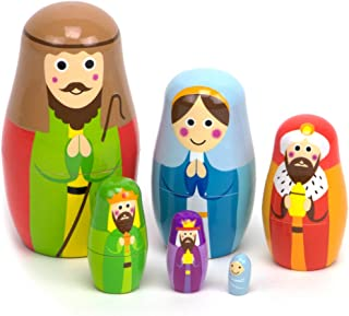 Nesting Nativity Scene – 6 Stackable Wooden Christmas Holiday Dolls – Small,..