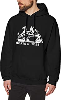 Boats & Hoes Men's Casual Long Sleeve Fleece Hoodie Pullover Size 3XL Black