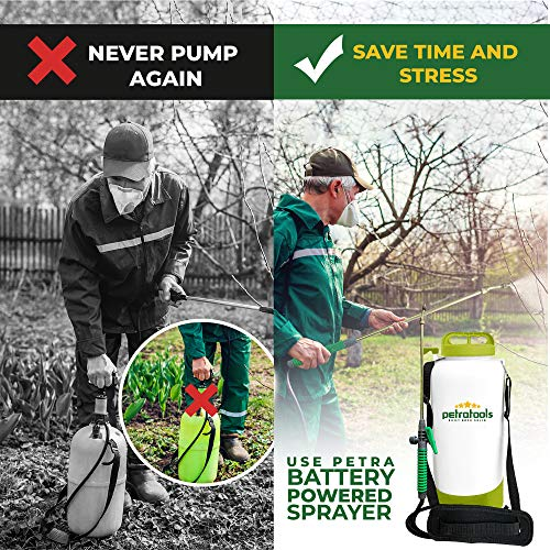 PetraTools 2 Gallon Battery Sprayer - Ultra Convenient Battery Powered Sprayer, Garden Sprayer & Weed Sprayer with Easy-to-Carry Strap, Electric Sprayer & Yard Sprayer with Long-Lasting Battery Life