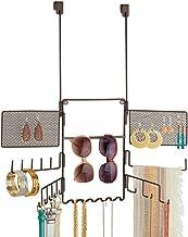 mDesign Presentoir Bijoux Pratique – avec 21 Crochets et 2 grilles – Rangement Bijoux pour Lunettes, bagues, Bracelets, Co...