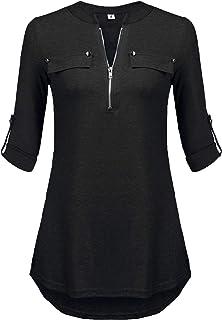 Lalala Damen V-Ausschnitt Bluse 3/4 Ärmel Kurzarm Reißverschluss Tunika Longshirt Hemd Tops T-Shirt Oberteil