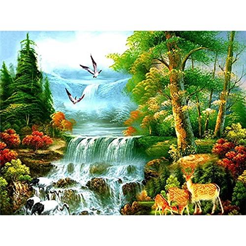 ZXDA Venta Pintura por números Kit de Cascada de Paisaje Imagen de Arte sobre Lienzo a Mano Dibujo de Bricolaje Pintura al óleo Decoración del hogar Regalo A8 60x75cm
