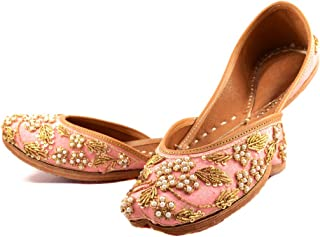 Indian Ethnic Embroidered Jutti Mojari Ballet Flats Traditional Peach Pump Shoes for Women