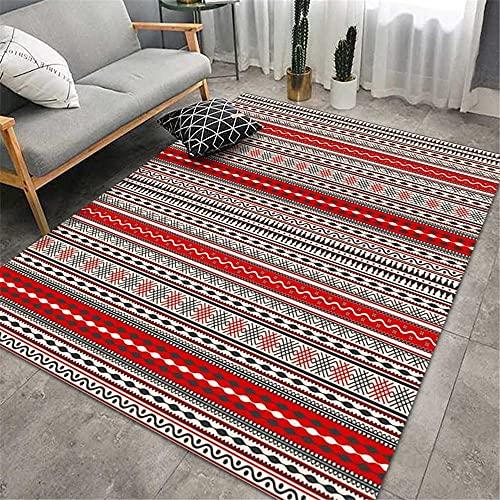 Home Alfombras Infantiles Rojo alfombras Juveniles Alfombra de cabecera de Dormitorio de Sala de Estar de decoración de Interiores Suave y cómoda de Estilo Retro cojin Grande Suelo 200X300cm